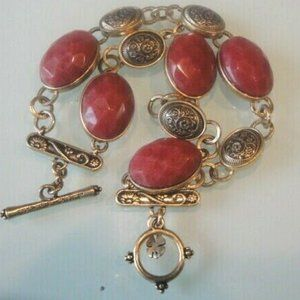 Lucky Brand Bracelet Toggle Red Stones&Brass Beads